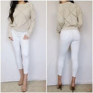 Aryn K. Knit Argyle Ivory White Knit Sweater Top S